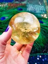 Shimmering Golden Ray Rainbow Calcite Sphere w/Stand