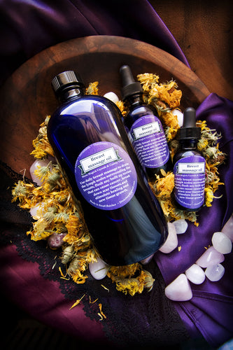 Self-care Breast Massage oil (Crystal Grid and color charged, Reiki infused)