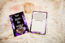 Crystal Valentine/Greeting Cards (Four Design Options) - You Rock My World (Rose Qtz Heart)