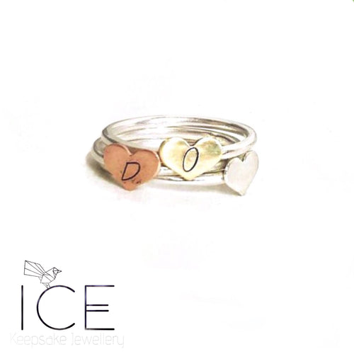 Love Heart Initial Stackers