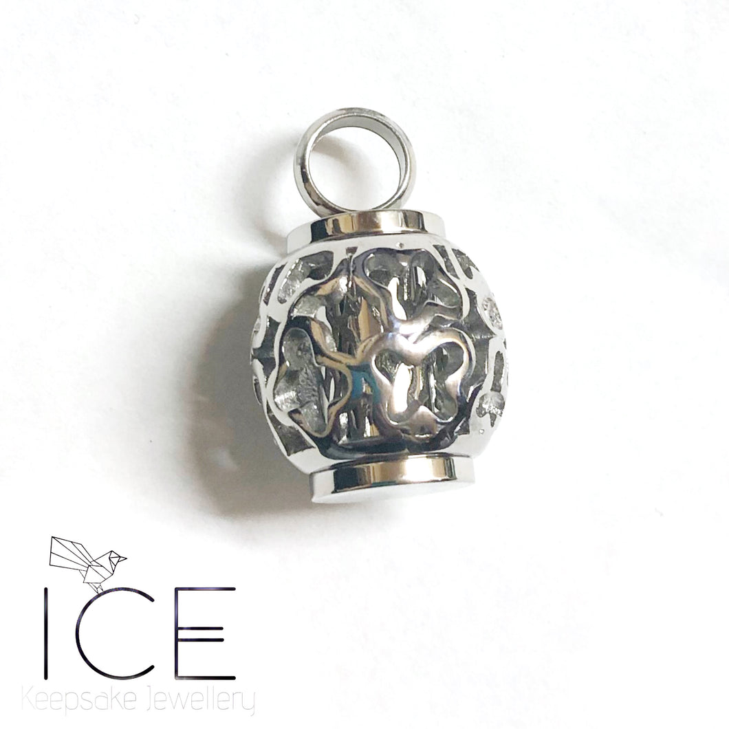 Stainless Steel Floral Urn Pendant