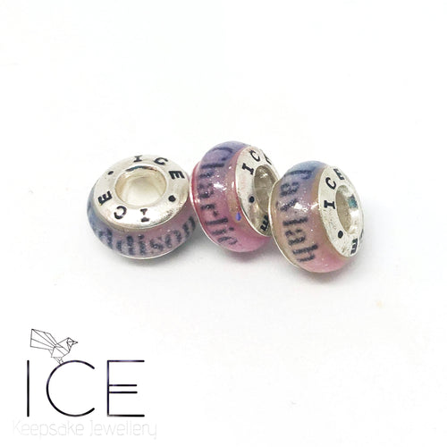 Name OR Date European Charm Bead- NO inclusions