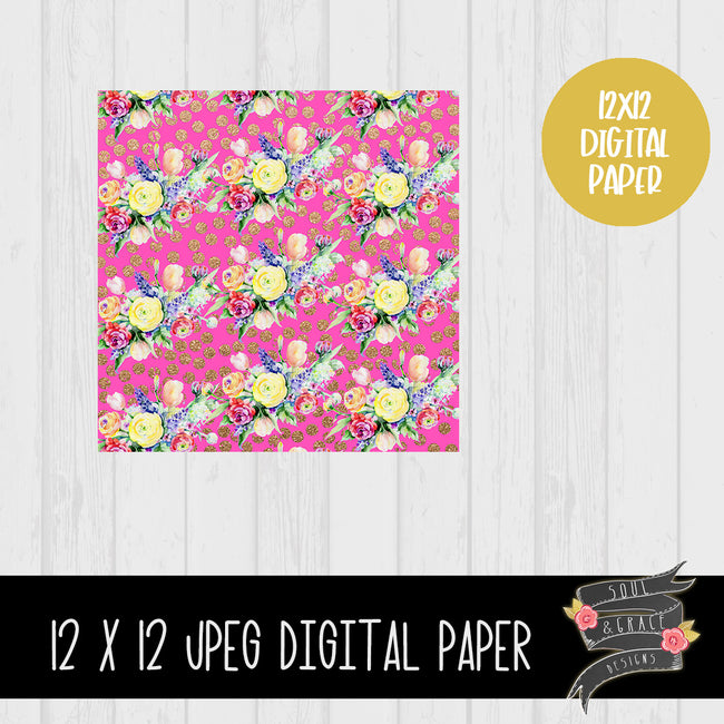 Flower and Rose Gold Dot Digital Paper