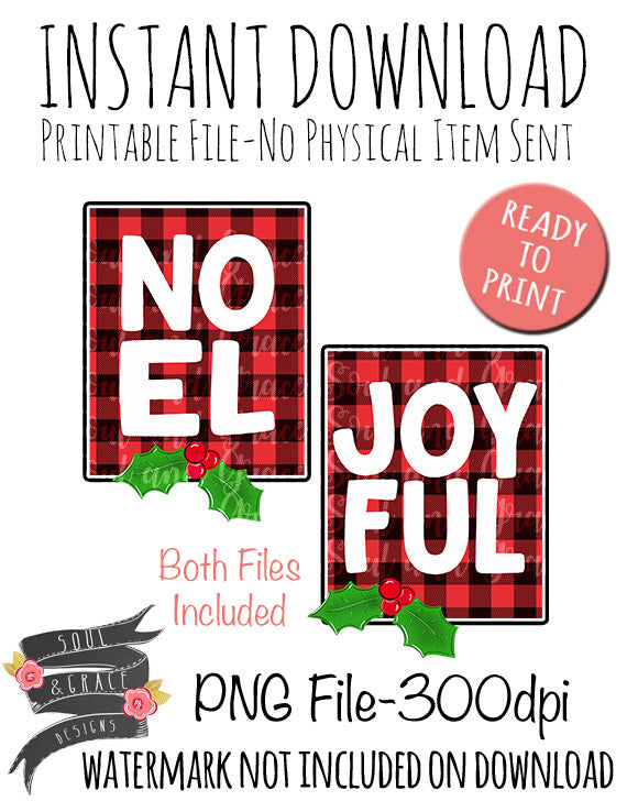 Joyful and Noel Buffalo Plaid Tea Towel Set