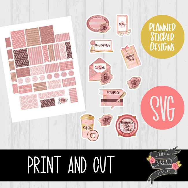 Feminine Boss Collection Print & Cut Planner Stickers