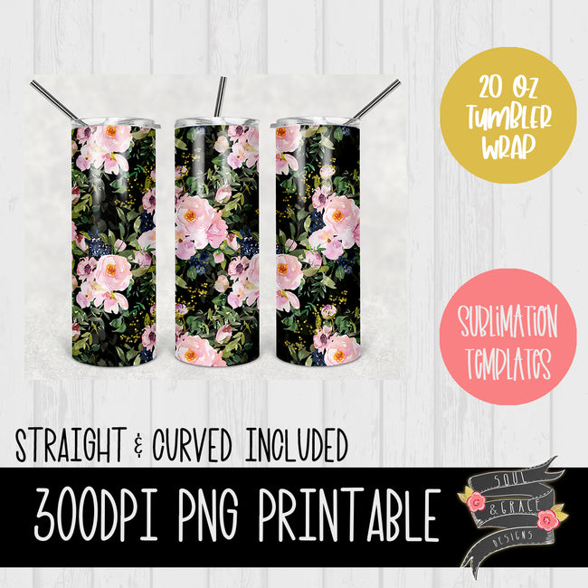 Black and Pink Floral with Glitter  [20oz tumbler wrap]