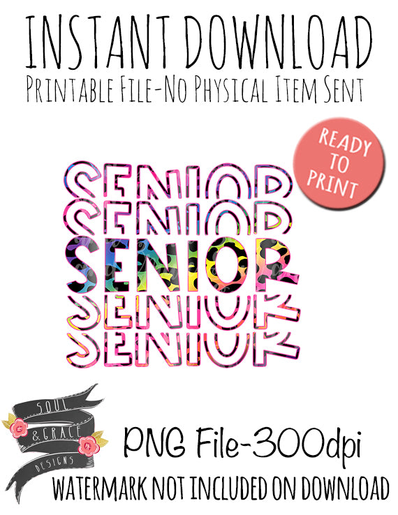Senior Bright Leopard Stacked