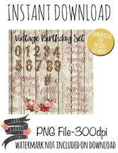 Vintage Birthday Elements Set
