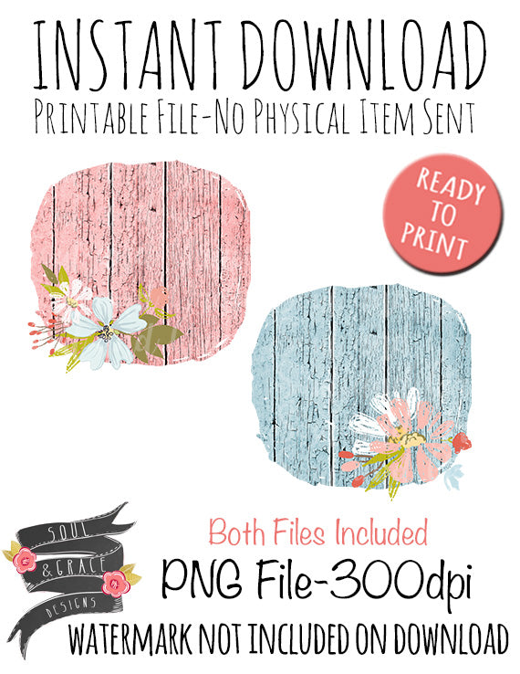 Pastel Wood Flowers Background Set
