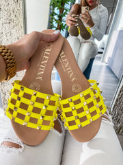 Drew Sandals Yellow & Studs Gold