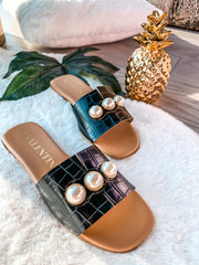 Donna Sandals Coco Black & Pearls