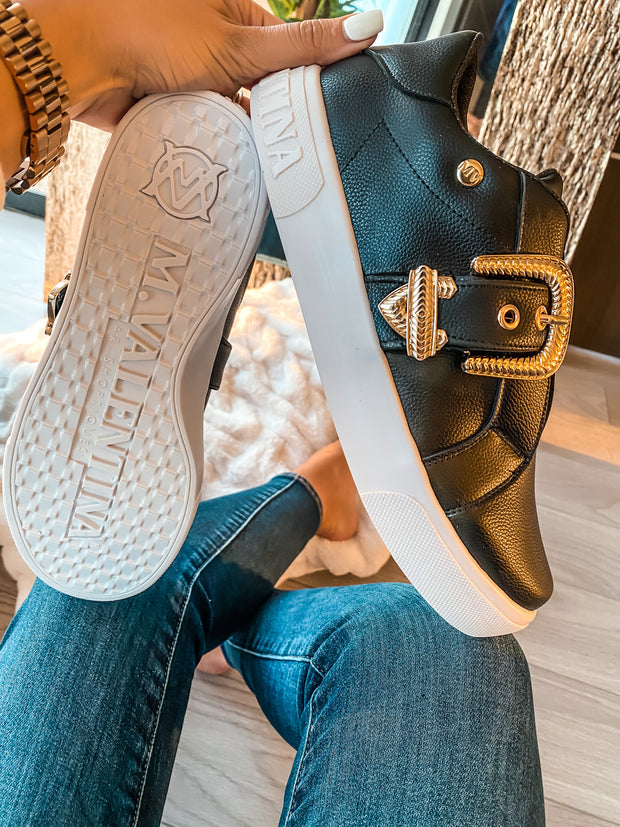 Sneakers Donna Black Gold Buckle