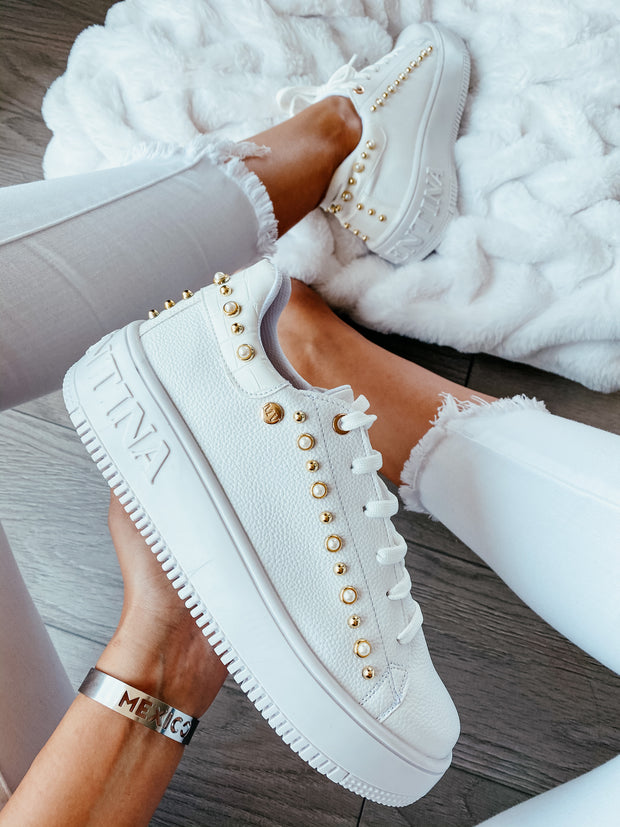 Boston Sneakers White & Pearl Gold