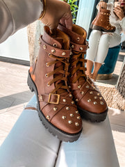 Combat Boots Brown Studs Gold