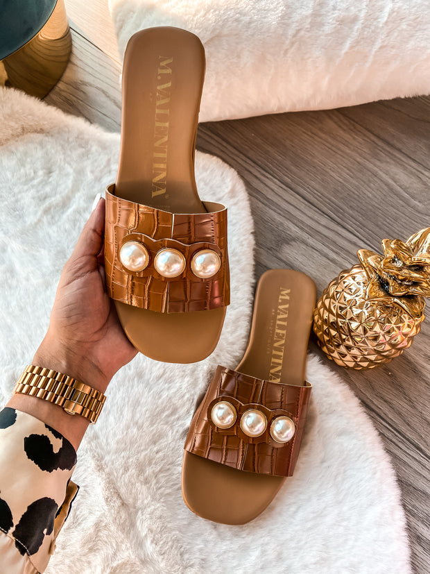 Donna Sandals Coco Brown & Pearls