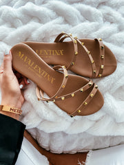 Dakar Sandals Nude Gold Studs