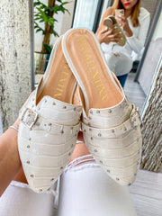 Tracey Mules Coco White & Studs