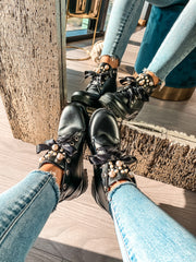 Ivanka Boots Black & Pearls