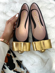 Flats Praga Top Knot Black & Gold Point