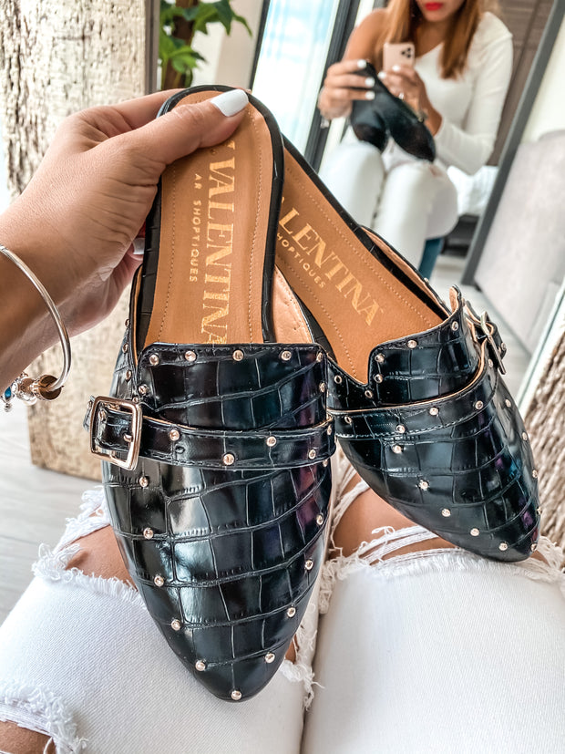 Tracey Mules Coco Black & Studs
