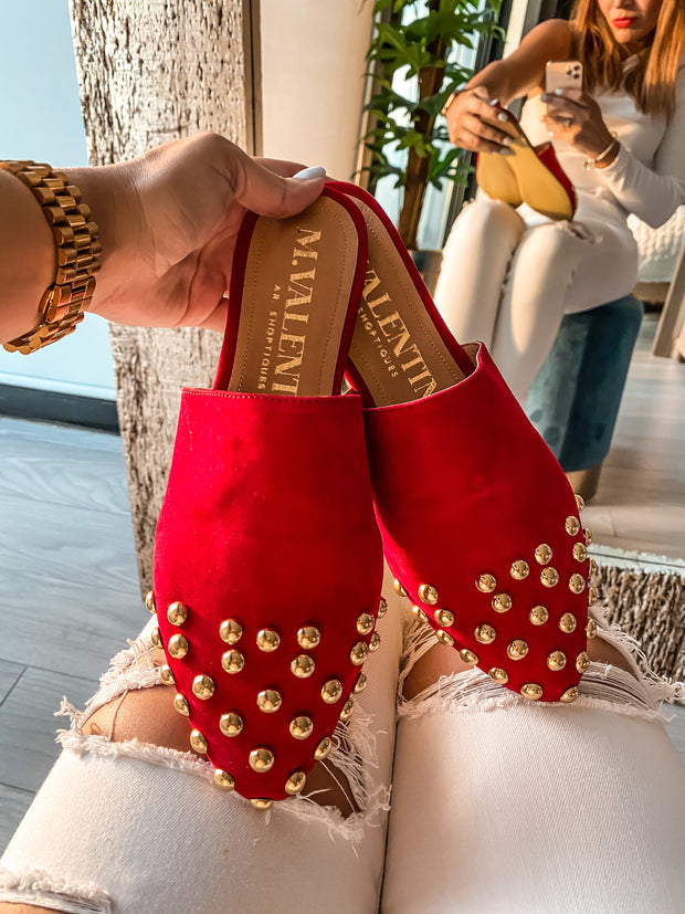 Ciara Mules Red Swede & Bumps