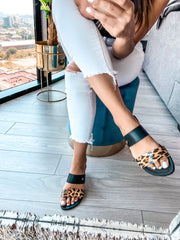 Lagos Sandals Black & Cheetah