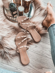 Dakar Sandals Nude Pearls & Gold Studs