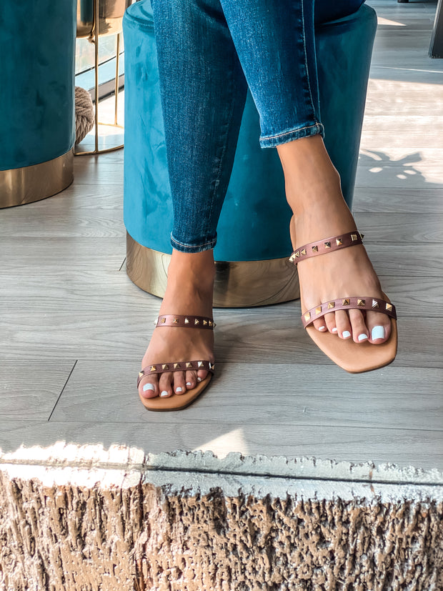 Daphne Sandals Rose Metalic & Studs Gold