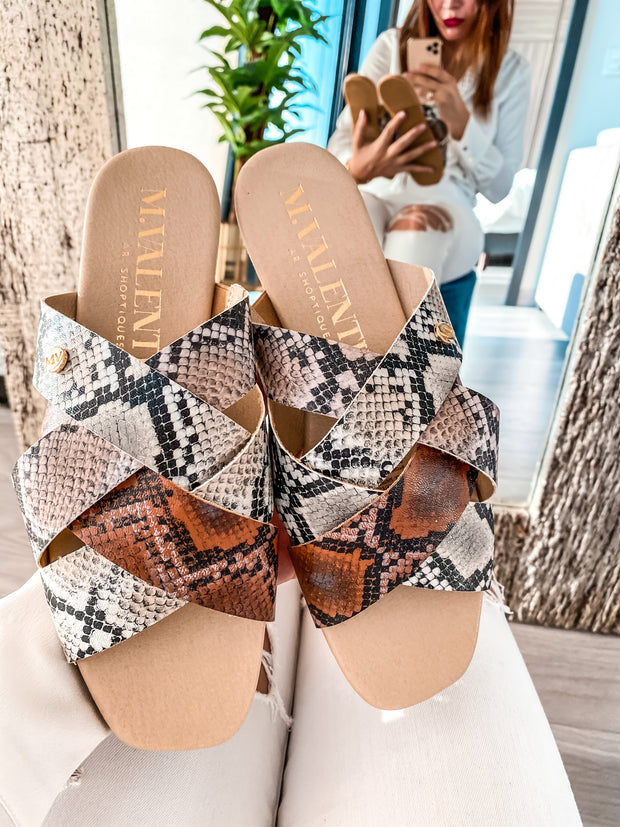 Safari Sandals Multi Snake Print