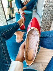 Dasha Flats Red & Nude Studs
