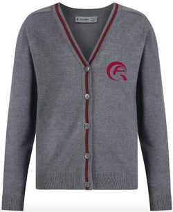 QAS GIRLS CARDIGAN - GREY & MULBERRY - SIDRA