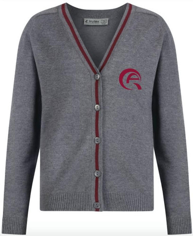 QAM GIRLS CARDIGAN - GREY & MULBERRY - MSHEIREB