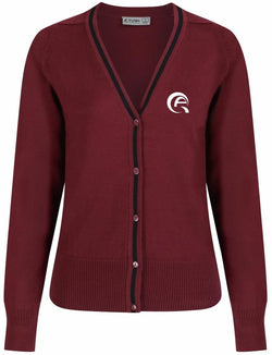 QAK GIRLS CARDIGAN - MULBERRY & BLACK - AL KHOR
