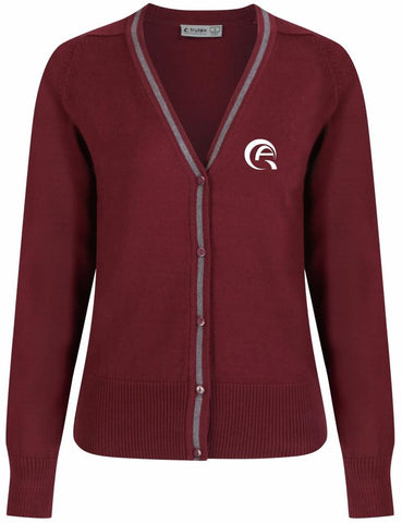 QAD GIRLS CARDIGAN - MULBERRY & GREY - DOHA