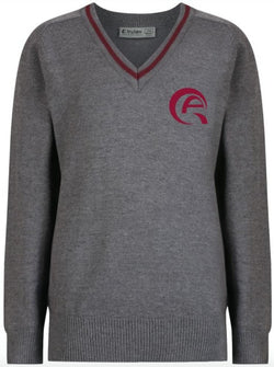 QAW BOYS JUMPER - GREY & MULBERRY - WAKRA