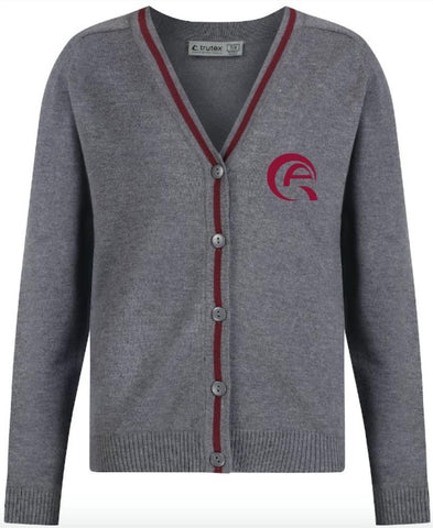 AWSAJ GIRLS CARDIGAN - GREY & MULBERRY - AWSAJ