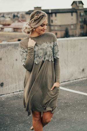 Fall green lace dress