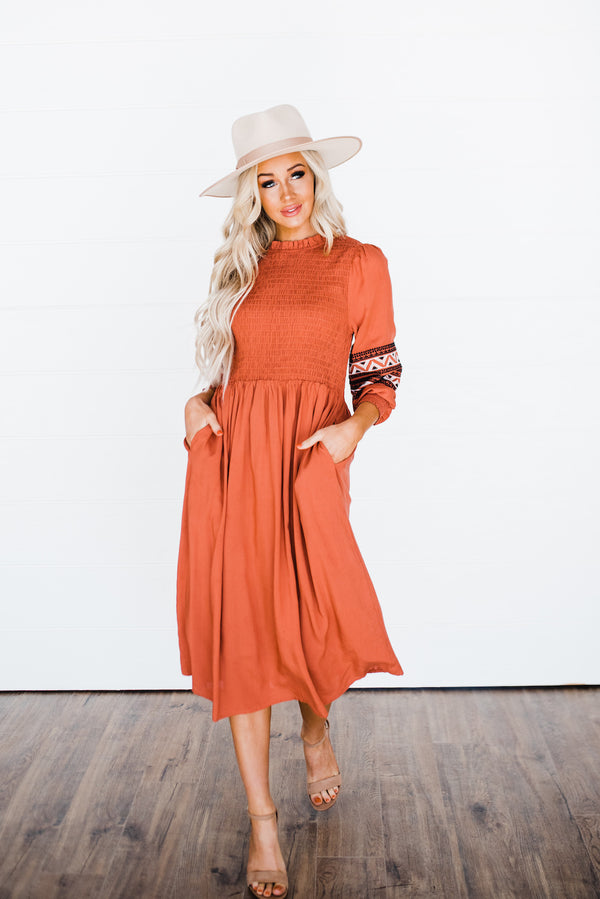 Carolyn Dress in Rust