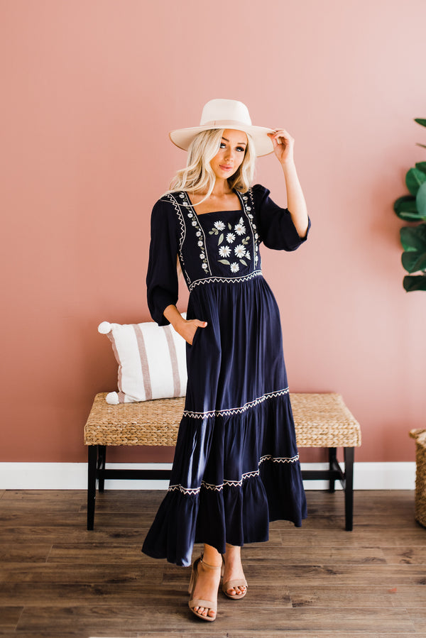 Harmony Dress in Dark Navy