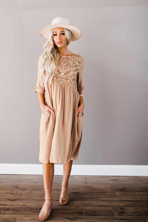 Khloe Dress in Muted Salmon