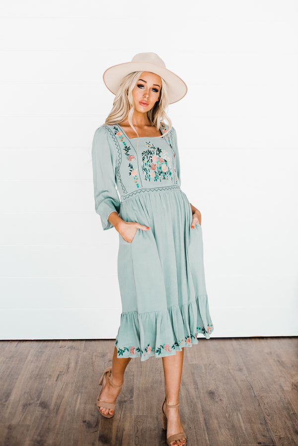 Alicia Dress in Sage
