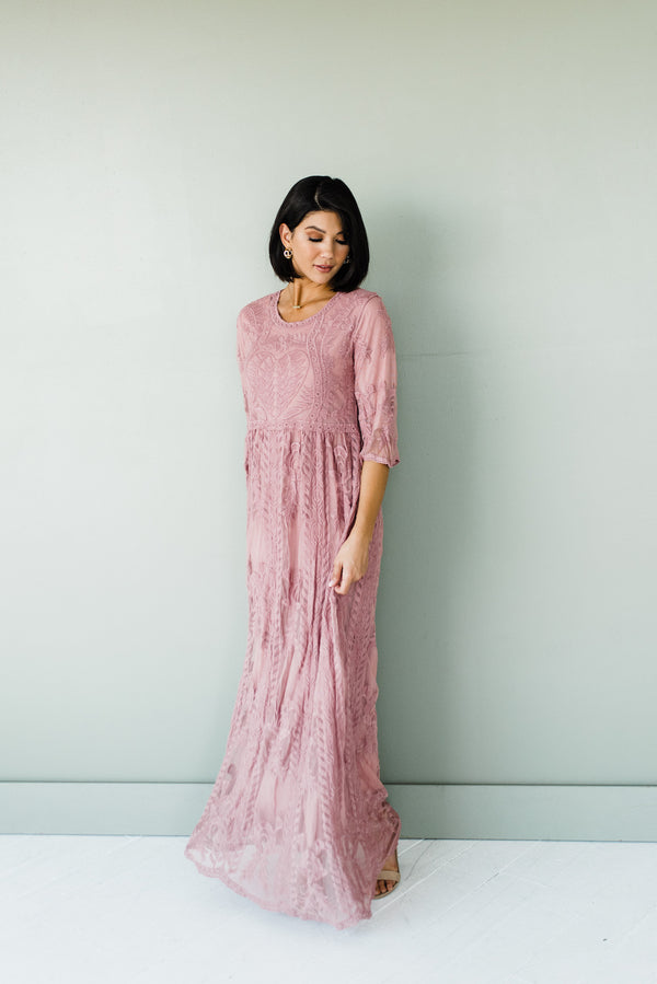 Maya Dress in Dark Mauve