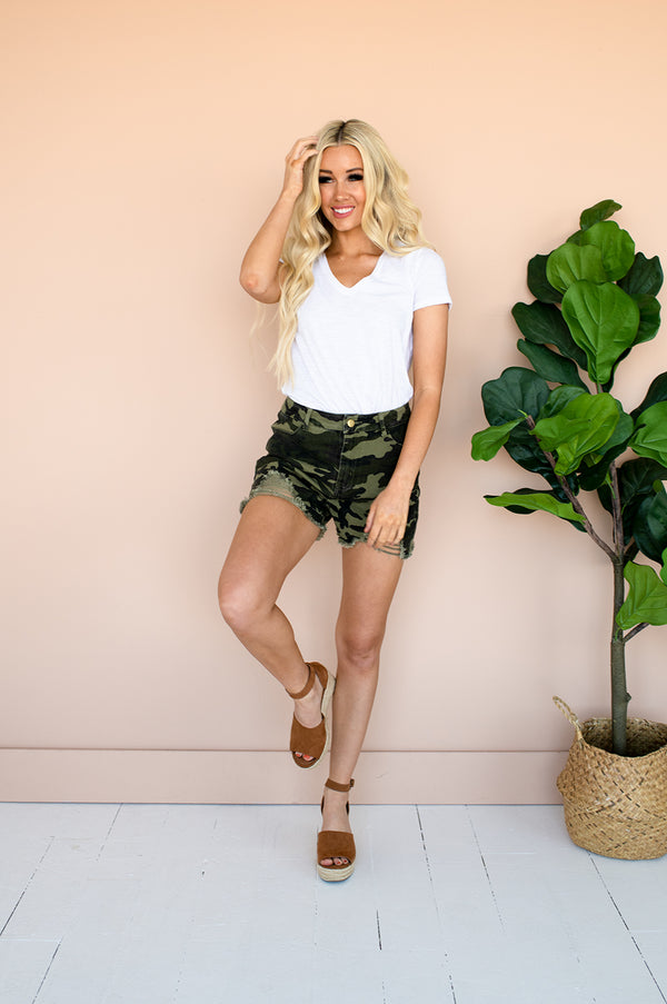 Camouflage shorts for women