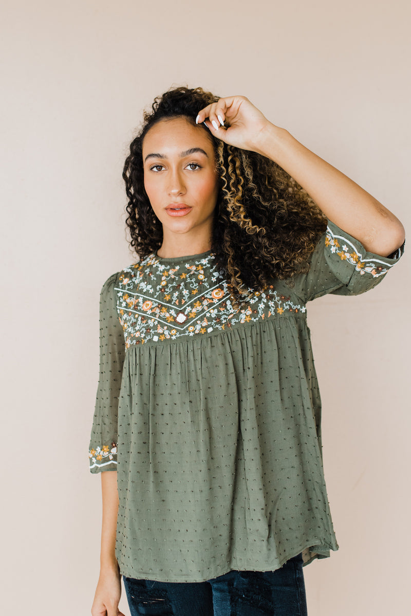 Marjorie Top in Olive