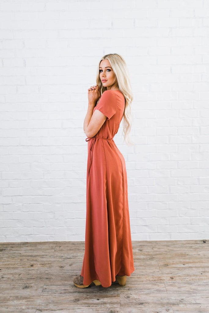 Orange red maxi dress