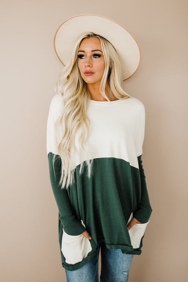 Meg Sweater in Hunter Green