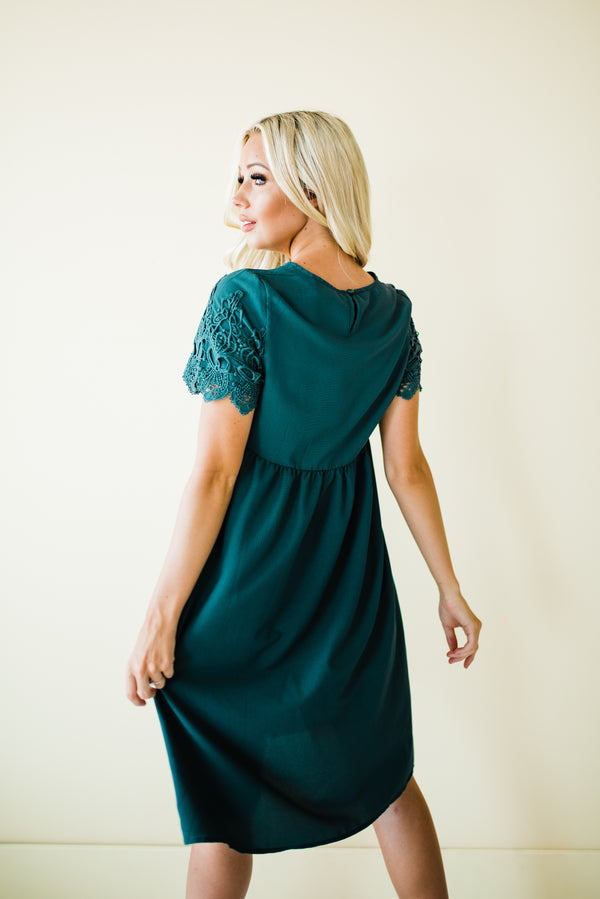 Adalynn Dress in Hunter Green