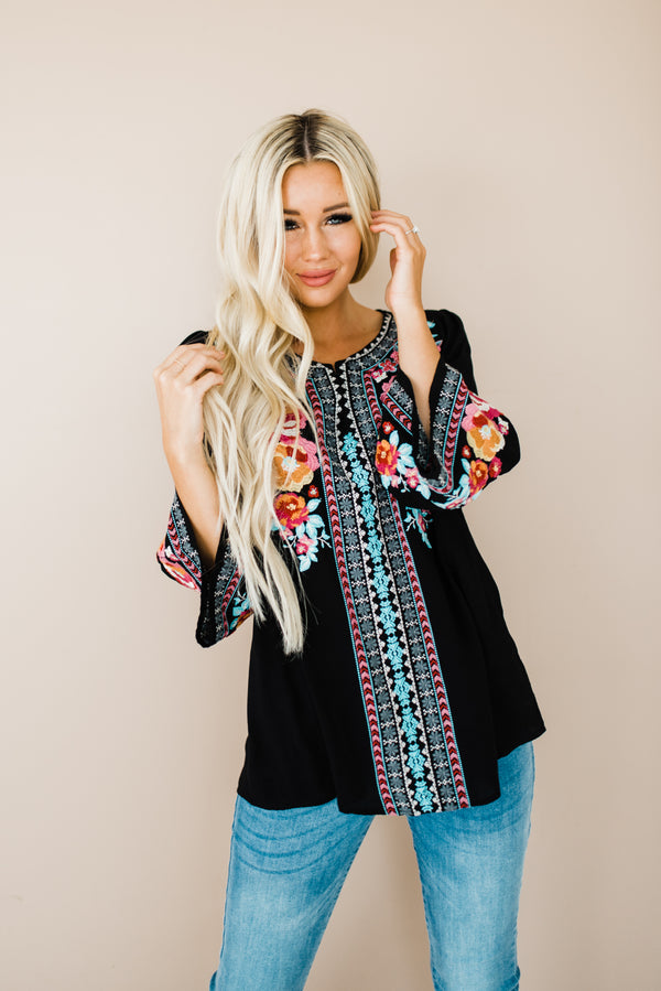 Tunic top with bell sleeves