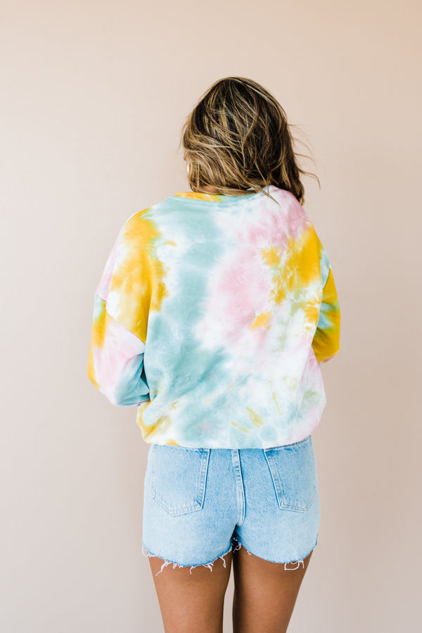 Blue yellow tie dye sweater