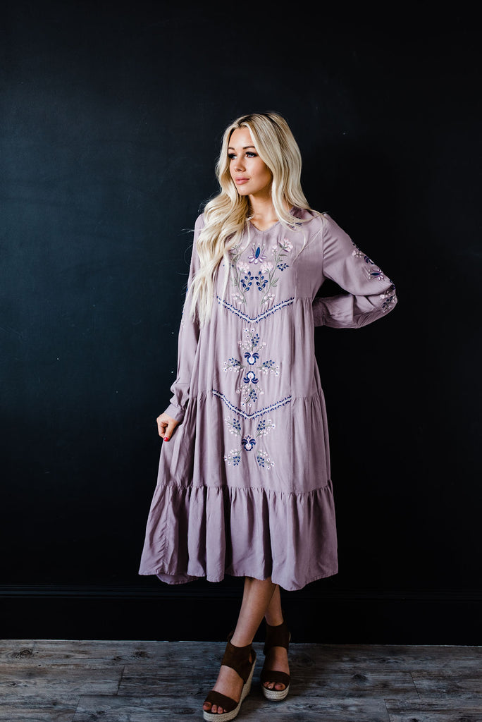 Deep mauve purple maxi dress